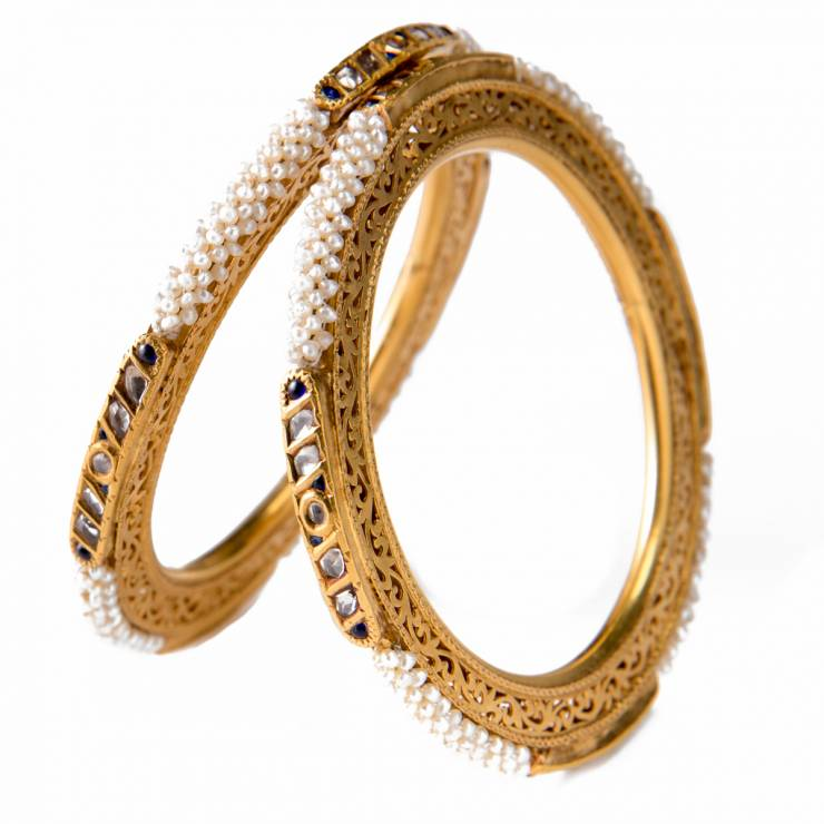 Pair of Open Worked Gold Bangles