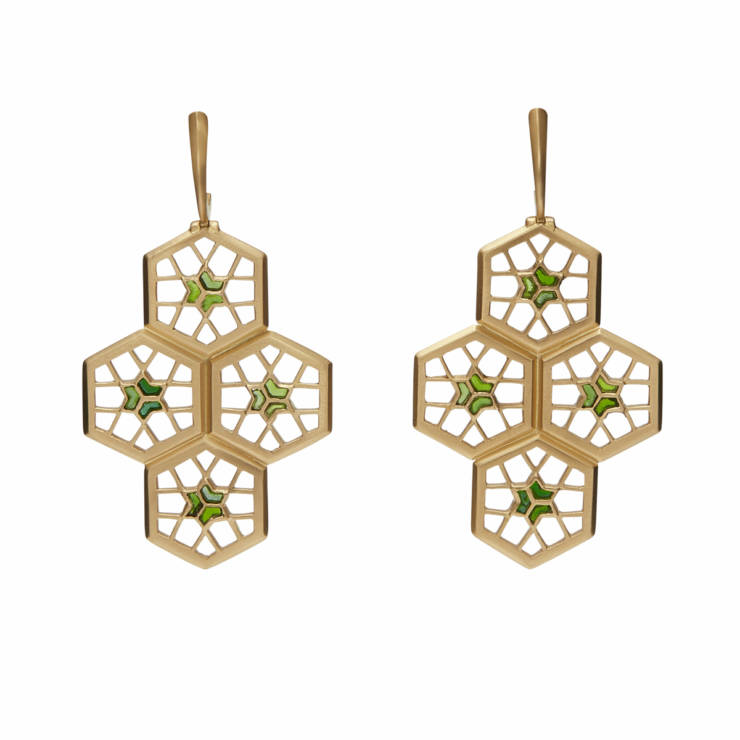 Four-Leaf Ear Pendants with Peridot