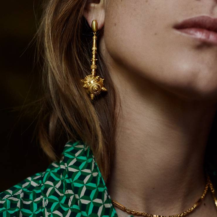 Gold Ear Pendants with Protruding Spikes