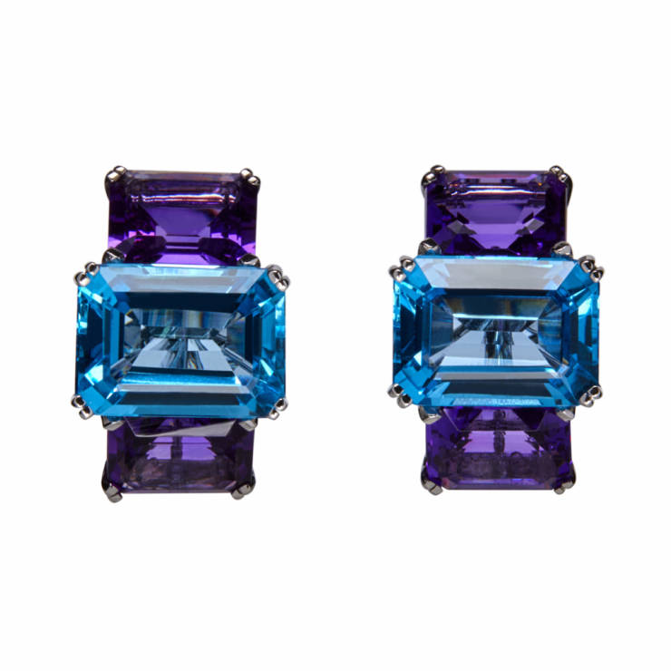 Two-Color Square Ear Clips