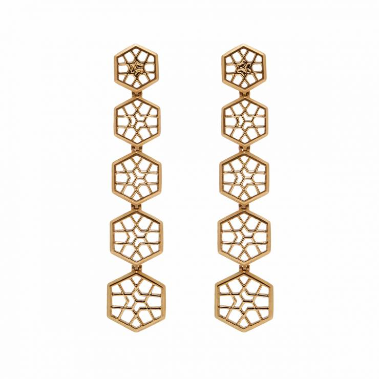 Ear Pendants of Linked Hexagonal Pendants