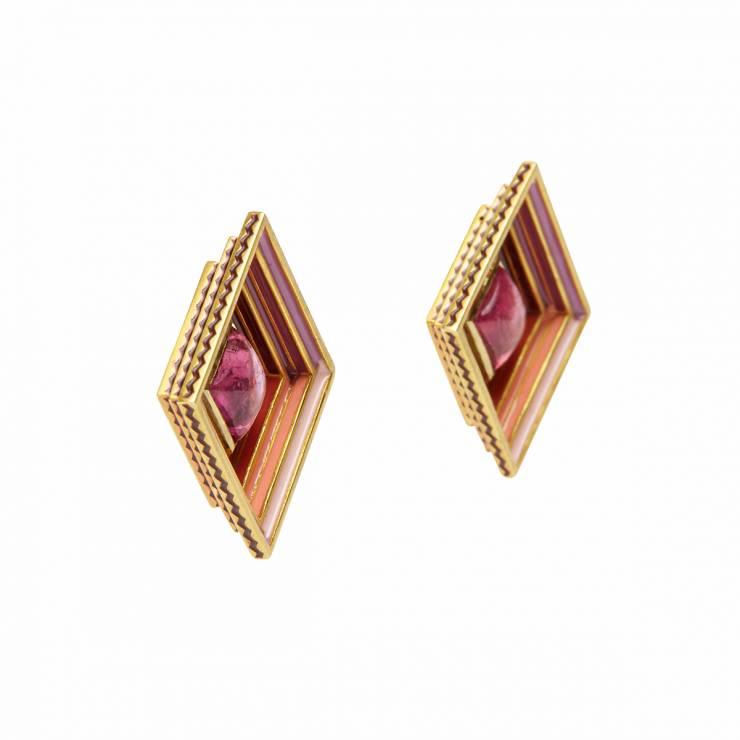 Earrings with pink Tourmaline